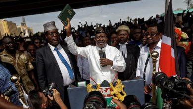 Photo of Raila Odinga 'sworn-in' as gov't orders TV stations shut down