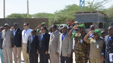 Photo of African Union Peace & Security Council delegation on an assessment mission in Somalia
