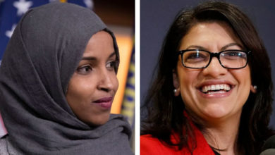 Photo of The nation's first two Muslim congresswomen are sworn in, surrounded by the women they inspired