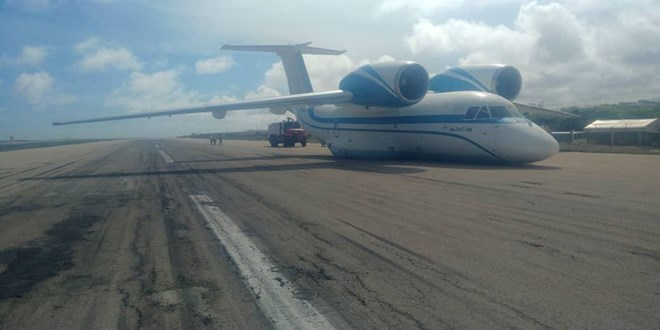 Photo of Plane's landing gear fails, lands on belly at Aden Abdulle Airport in Mogadishu