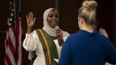 Photo of St. Louis Park's youngest and first Somali-American city council member sworn in