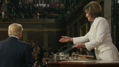 Photo of Trump appeared to snub Pelosi's offered handshake. She ripped up his speech when he was done.